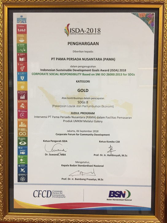 Indonesian Sustainable Development Goals Award (ISDA) Gold Category th 2018